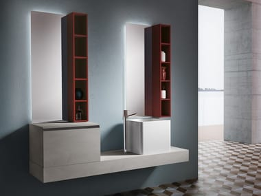 Wall-mounted vanity unit with drawers CHANGE 214
