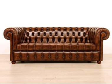 Tufted leather sofa CHARLESTON