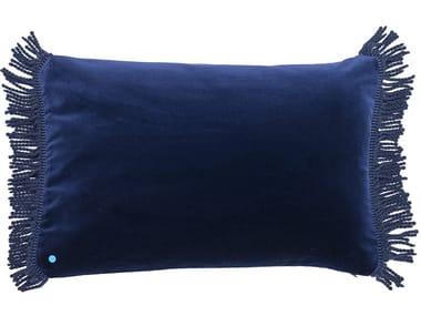 Solid-color rectangular velvet cushion CHARLIE BLEU NUIT   Rectangular cushion