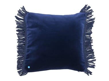Solid-color square velvet cushion CHARLIE BLEU NUIT   Square cushion