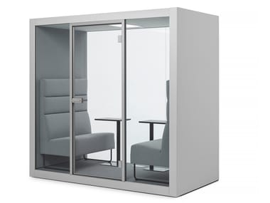 Acoustic office island in HPL and glass CHATBOX | Office booth