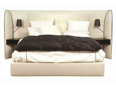 Tanned leather double bed with tufted headboard CHERCHE MIDI