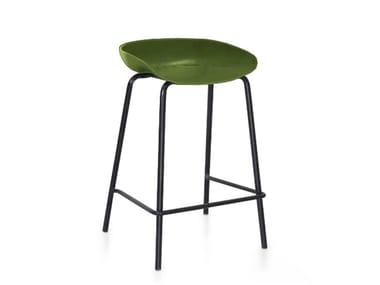 High leather stool CHERRY | Stool