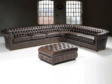 Corner tufted leather sofa CHESTERFIELD | Corner sofa