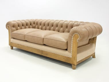 Tufted 3 seater leather sofa CHESTERFIELD ESSENCE | Leather sofa