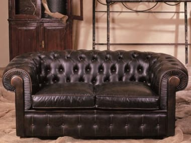 Tufted 2 seater leather sofa CHESTERFIELD | 2 seater sofa