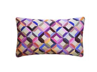 Rectangular silk cushion CHEVRON PRINTED SILK MULTICOLOURED