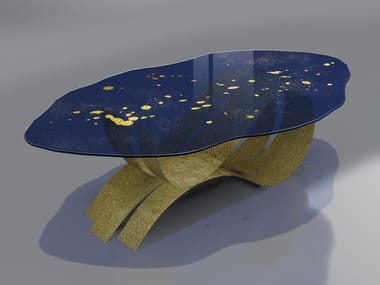 Glass and Stainless Steel table CHIARO DI LUNA