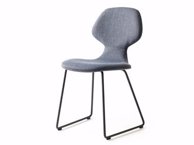 Sled Base Upholstered Fabric Chair CHIBA   Sled Base Chair
