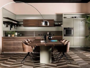 Wooden kitchen with peninsula CHRONOS   Kitchen with peninsula