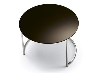 Mesa de centro baixa redonda CIN CIN | Mesa de centro de vidro