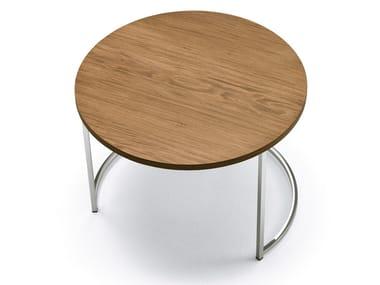 Mesa de centro baixa redonda CIN CIN | Mesa de centro de folheado de madeira