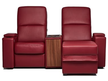 Sectional leather Cinema armchair with motorised functions VENICE | Cinema armchair with chaise longue