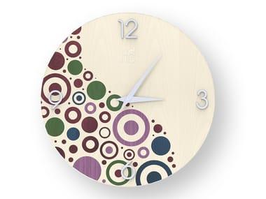 Wall-mounted wooden clock CIRCLES COLORS | Clock