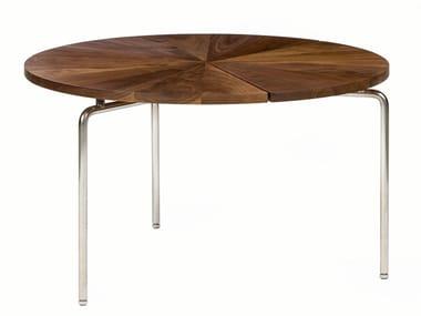 Mesa de centro redonda de aço inox e madeira CIRCULAR | Mesa de centro