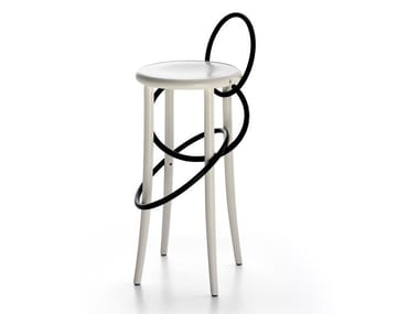 High wooden barstool CIRQUE | High stool