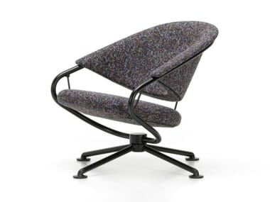Swivel fabric easy chair with 4-spoke base with armrests CITIZEN LOWBACK