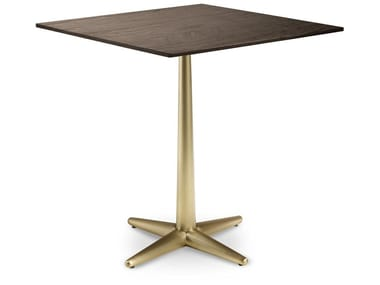 Square wooden table with 4-star base CITY | Square table