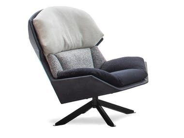 Swivel fabric armchair CLARISSA | Armchair