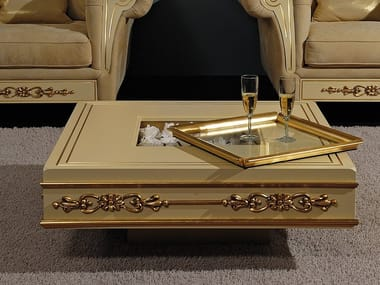 Classic style low lacquered square wooden coffee table CLASSIC | Coffee table