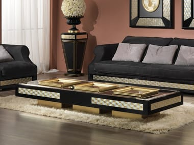 Low lacquered rectangular wooden coffee table CLASSIC WINDOWS | Rectangular coffee table