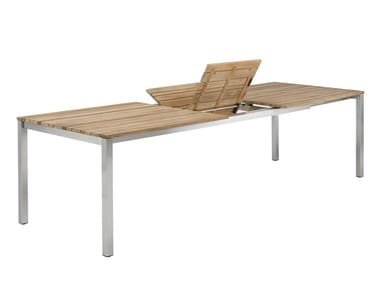 Extending stainless steel and wood garden table CLASSIC STAINLESS STEEL | Extending table