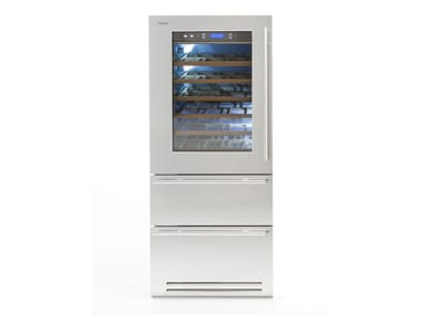 Wine cooler with drawers with glass door CLASSIC 90 | Upright wine cooler