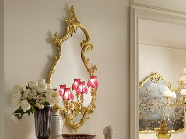 Wall-mounted gold leaf mirror with integrated lighting OPERA | Mirror with integrated lighting