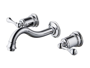 Wall-mounted washbasin tap with individual rosettes CLASSIK | Wall-mounted washbasin tap