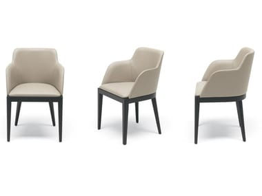Upholstered leather chair with armrests CLEÒ | Chair with armrests