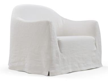 Linen armchair with armrests CLICHY   Armchair