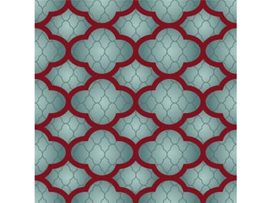 Square fabric rug with geometric shapes CLOUDS