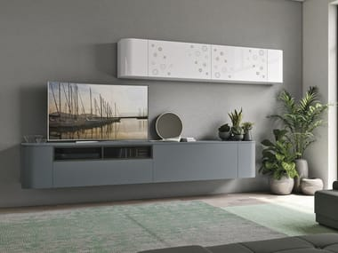 Sectional lacquered storage wall CLOVER NECK LIVING