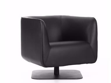 Swivel leather armchair with armrests CLUB CHAIR | Swivel armchair