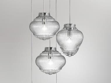 Lampada a sospensione fatta a mano in vetro soffiato BONNIE E CLYDE | Lampada a sospensione