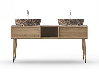 Double oak vanity unit COCÒ 025/2 | Vanity unit