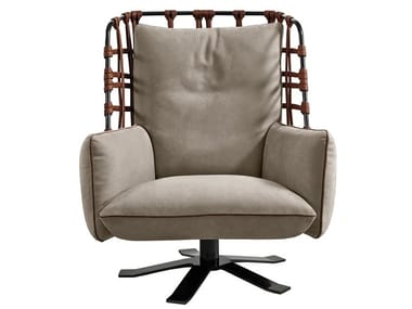 Swivel leather armchair COCOON