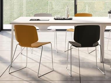Sled base multi-layer wood chair CODE | Sled base chair