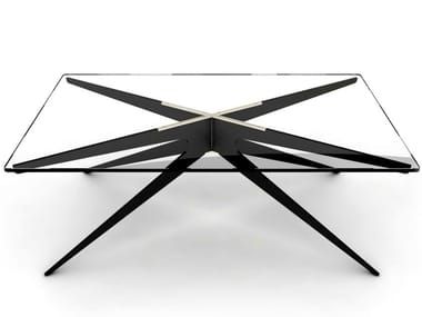 Rectangular glass and steel coffee table for living room DEAN | Coffee table for living room