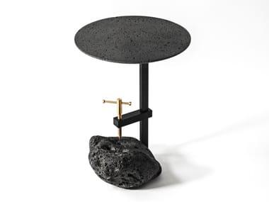 Mesa de centro redonda de pedra de lava F | Mesas de centro