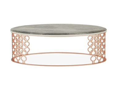 Low oval metal and marble coffee table COCKTAIL | Coffee table