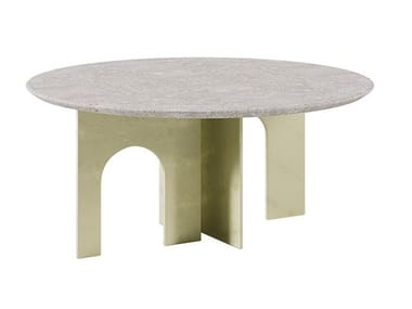 Low table in metal and ancient stone ARCHE | Coffee table