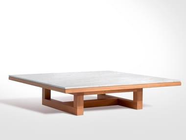 Tavolino quadrato in legno e marmo SPAN | Tavolino