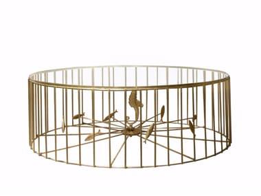 Mesa de centro redonda de metal para sala de estar GABBIA | Mesa de centro