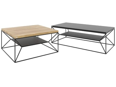Steel and wood coffee table with integrated magazine rack MAXIMO | Coffee table