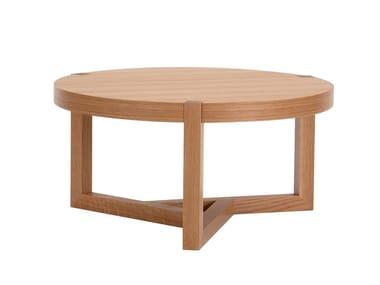 Tavolino rotondo in legno impiallacciato BRENTWOOD | Tavolino basso