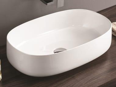 Vasque à poser ovale en céramique COGNAC | Lavabo ovale