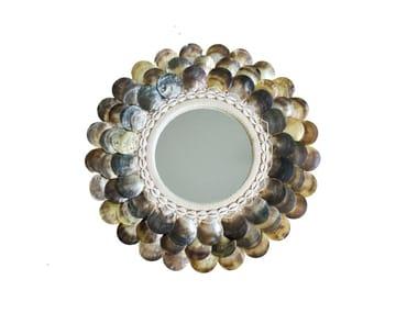 Round wall-mounted natural fibre mirror COIN
