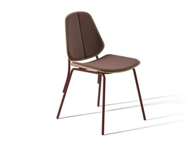 Steel and wood chair with integrated cushion COL 370P