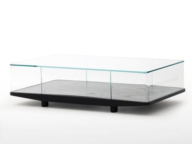 Table basse rectangulaire en cristal avec rangement COLLECTOR | Table basse rectangulaire